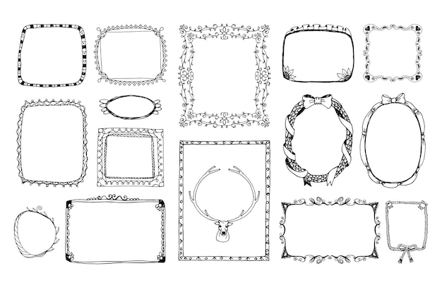 Moldura monocromática doodle desenhado à mão para o retrato, ornamento de álbum no dia dos namorados. Vetor grátis