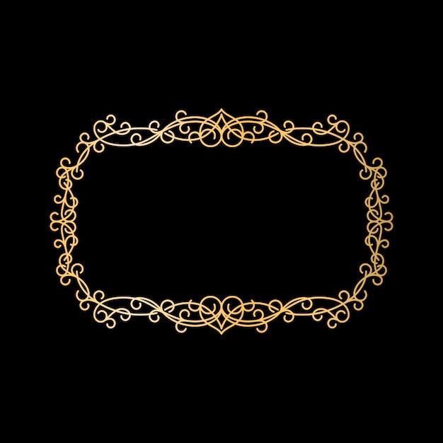 Moldura ornamental vintage dourada Vetor Premium