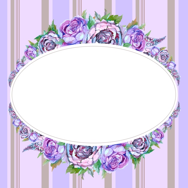 Moldura oval com flores em aquarela Vetor Premium
