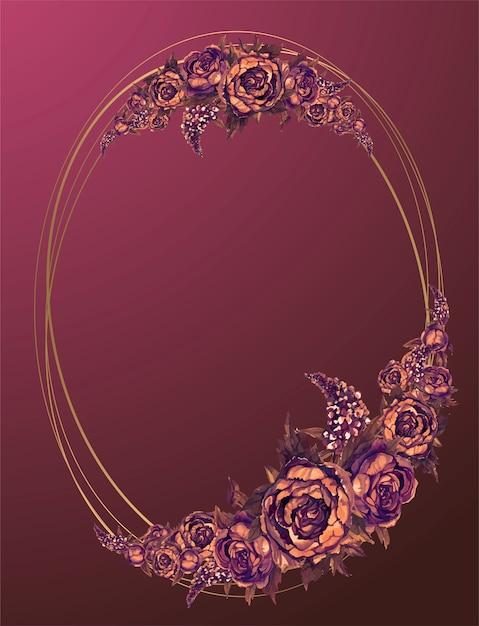 Moldura oval de ouro com flores em aquarela de borgonha Vetor Premium