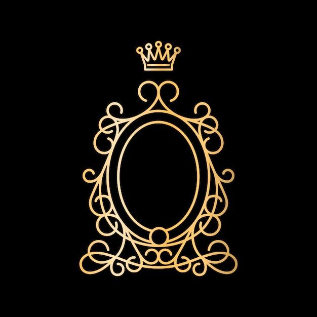 Moldura oval vintage dourada com coroa Vetor Premium