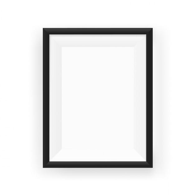 Moldura para retrato preta vazia realística em uma parede. ilustração vetorial isolado no branco Vetor Premium