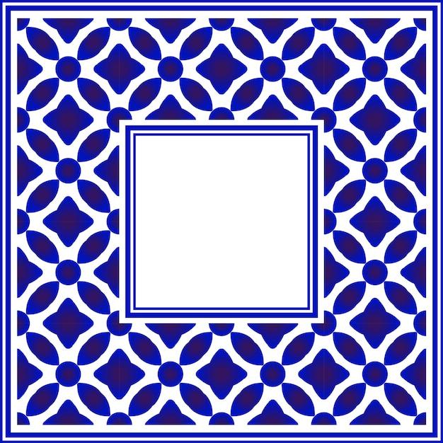 Moldura quadrada de cerâmica azul e branca Vetor Premium