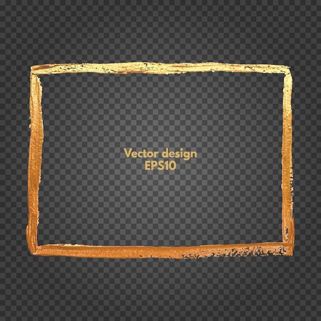 Moldura quadrada de ouro Vetor Premium