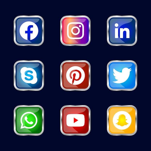 Moldura quadrada de prata brilhante botão de ícones de mídia social com efeito de gradiente definido para uso on-line ux ui Vetor Premium