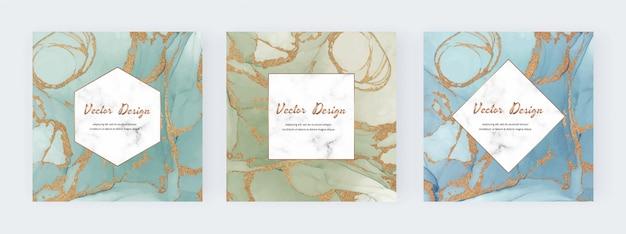 Moldura quadrada de tinta com textura de glitter dourados e mármore fundo geométrico. Vetor Premium