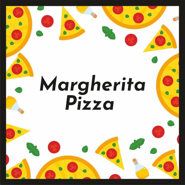 Moldura quadrada de vetor de pizza e ingredientes. Vetor Premium