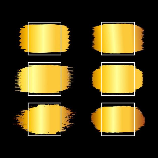 Moldura quadrada dourada, conjunto de conceitos desenhados à mão quadrada dourada Vetor Premium