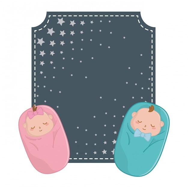 Moldura quadrada e bebês abrigados Vetor Premium