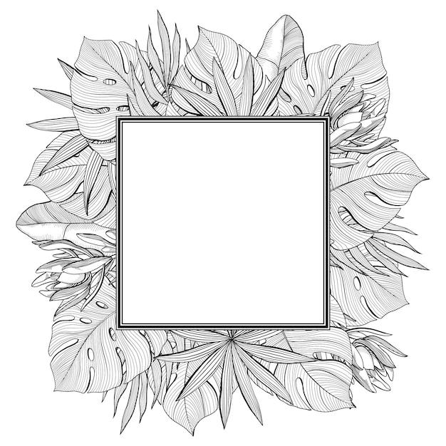 Moldura quadrada feita de folhas de palmeira tropical, selva, ilustração vetorial desenhados à mão Vetor Premium
