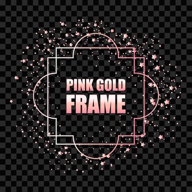 Moldura quadrada realista metálica rosa ouro Vetor Premium