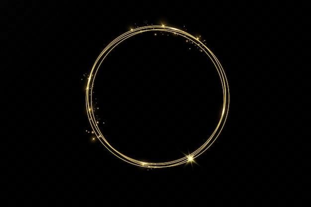 Moldura redonda brilhante ouro com efeitos de luzes isolada. anel de ouro brilhante. efeito de trilha de redemoinho de néon. Vetor Premium