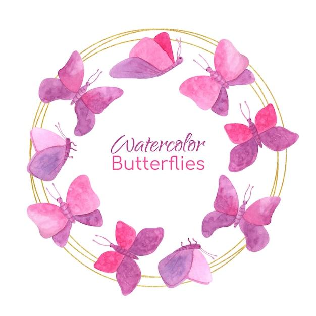 Moldura redonda com borboletas em aquarela e círculos dourados Vetor Premium