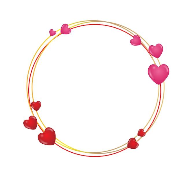 Moldura redonda com corações Vetor Premium