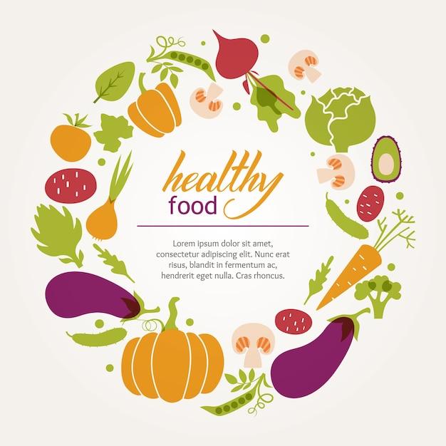 Moldura redonda de legumes frescos suculentos. dieta saudável, vegetariana e vegana. Vetor grátis