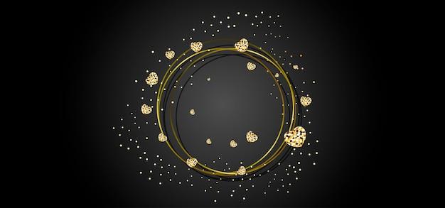Moldura redonda dourada Vetor Premium