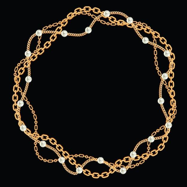 Moldura redonda feita com correntes douradas trançadas. com pérolas. no preto. ilustração vetorial Vetor Premium