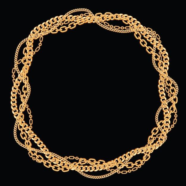 Moldura redonda feita com correntes douradas trançadas. no preto. ilustração vetorial Vetor Premium