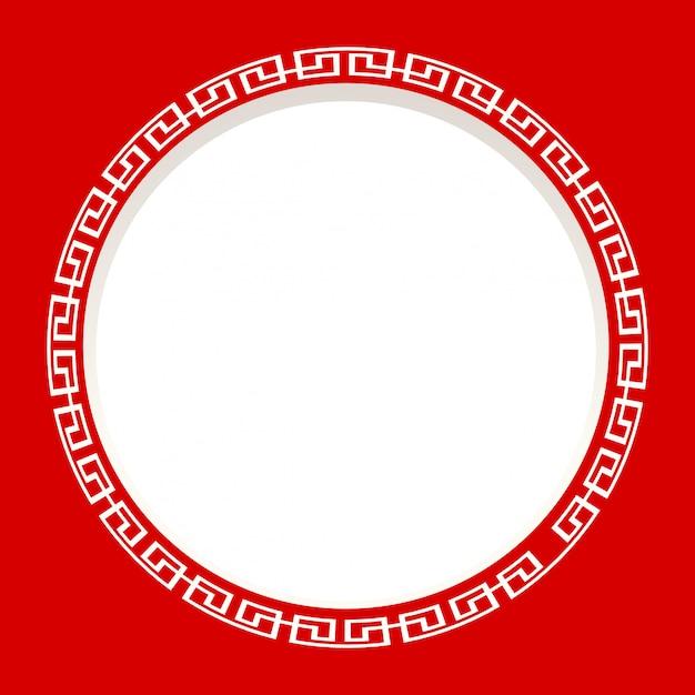 Moldura redonda sobre fundo vermelho Vetor grátis