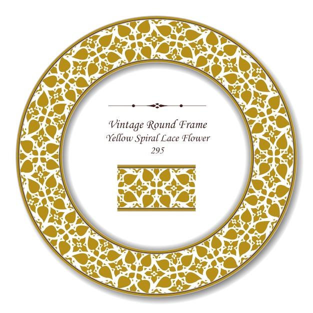 Moldura retrô redonda vintage de flor de renda em espiral amarela Vetor Premium