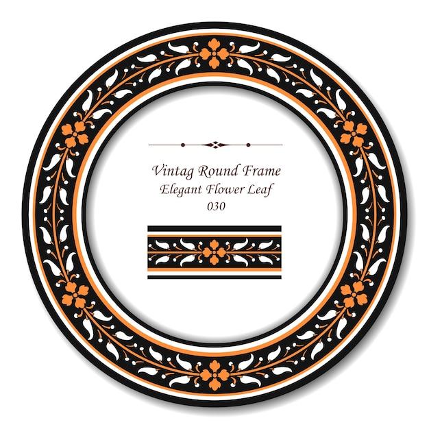 Moldura retro redonda vintage de folha de flor de laranjeira elegante Vetor Premium