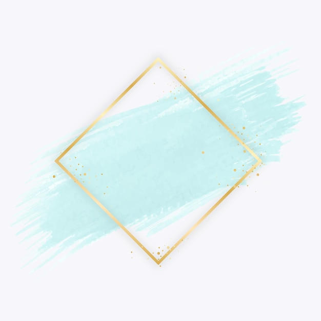 Moldura simples dourada com mancha de aquarela Vetor grátis