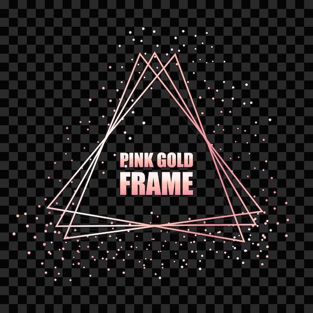 Moldura triangular realista de metal ouro rosa Vetor Premium