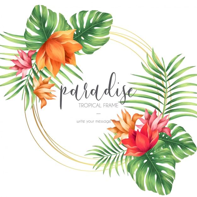 Moldura tropical com natureza exótica Vetor grátis