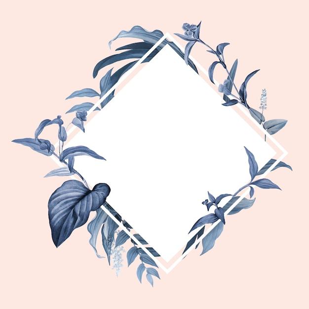 Moldura vazia com vetor de desenho de folhas azuis Vetor grátis