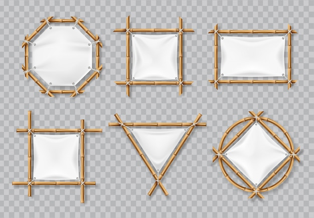 Molduras de bambu com lona branca. sinais de bambu chinês com banners em branco têxtil. conjunto isolado vector Vetor Premium