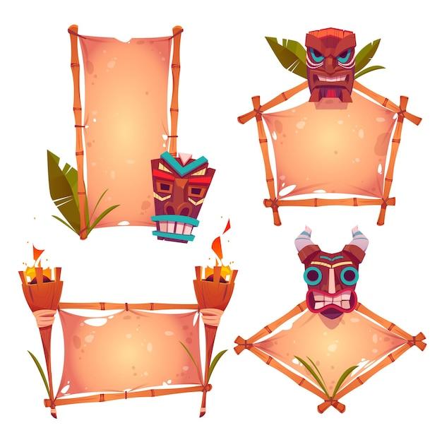 Molduras de bambu com máscaras tiki, pergaminho velho e tochas acesas Vetor grátis