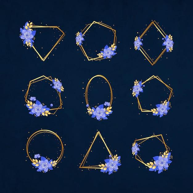 Molduras de casamento dourado de luxo com flores Vetor grátis