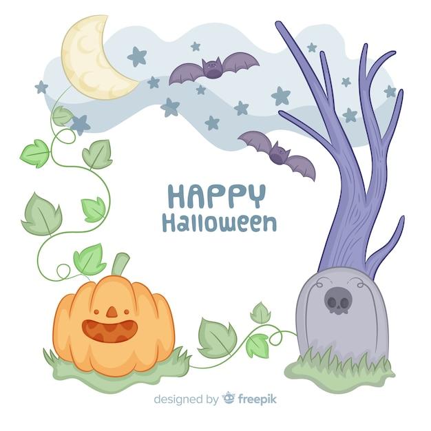 Molduras de mão desenhada halloween no meio da noite Vetor grátis
