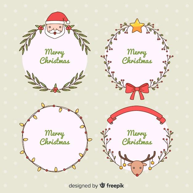Molduras de natal e bordas Vetor grátis