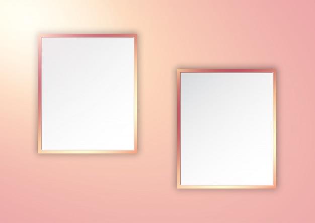 Molduras de ouro rosa na parede iluminada Vetor grátis