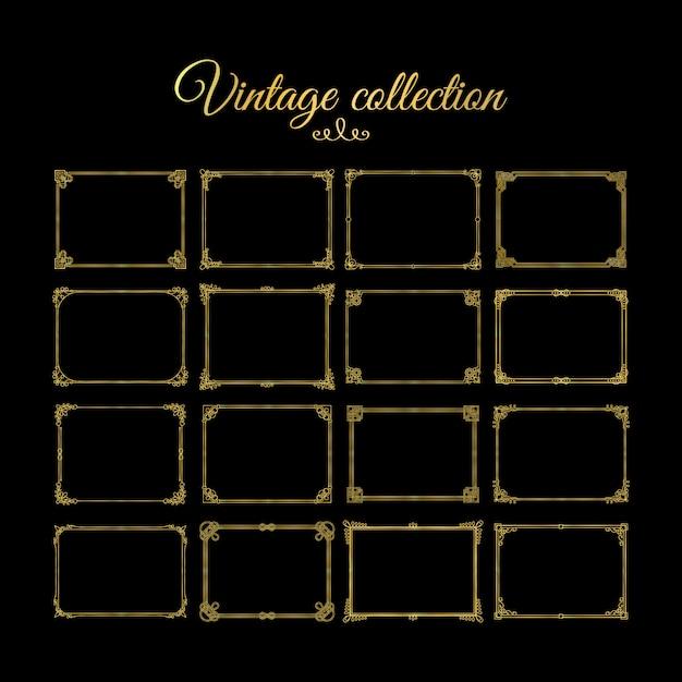 Molduras decorativas de ouro vintage e fronteiras Vetor Premium