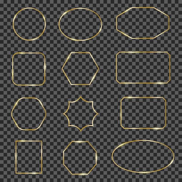 Molduras douradas brilhantes. borda de quadro de linha geométrica espumante ouro, fronteiras brilhantes de luxo elegante. conjunto de ilustração de quadros modernos de ouro. moldura dourada geométrica de coleção, borda de ouro Vetor Premium
