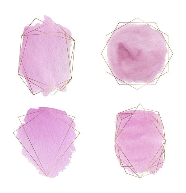 Molduras douradas poligonais com pincel rosa derrame textura aquarela. Vetor Premium