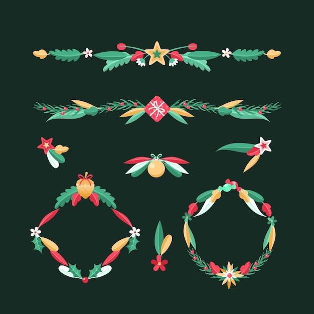Molduras e bordas de natal em design plano Vetor grátis