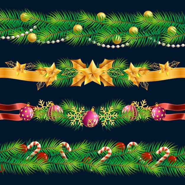 Molduras e bordas realistas de natal Vetor grátis