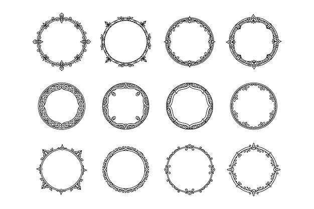Molduras e molduras de círculo antigo vintage de mão desenhada Vetor Premium
