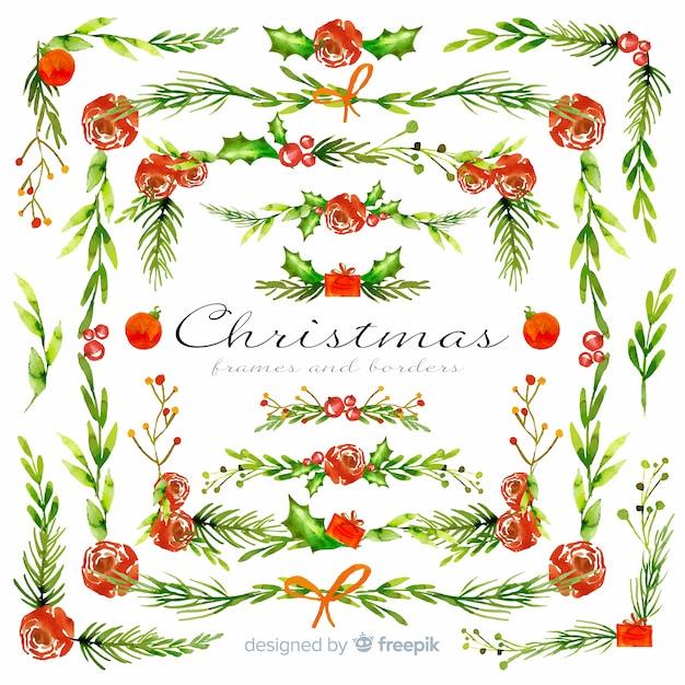 Molduras e molduras de natal em aquarela Vetor grátis