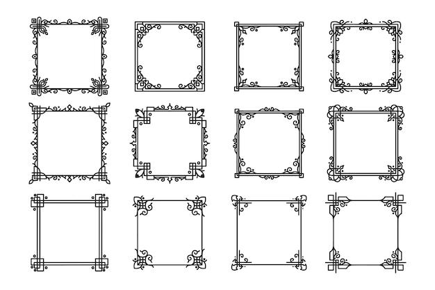 Molduras e molduras quadradas antigas desenhadas à mão Vetor Premium