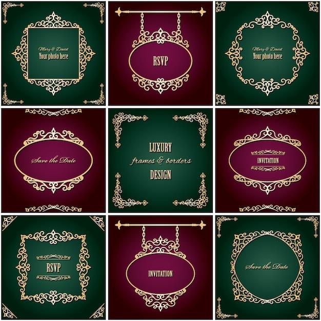 Molduras ovais douradas vintage e conjunto de fronteiras Vetor Premium