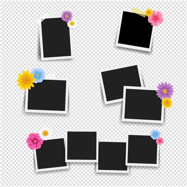 Molduras para fotos com flores grande conjunto com fundo transparente Vetor Premium