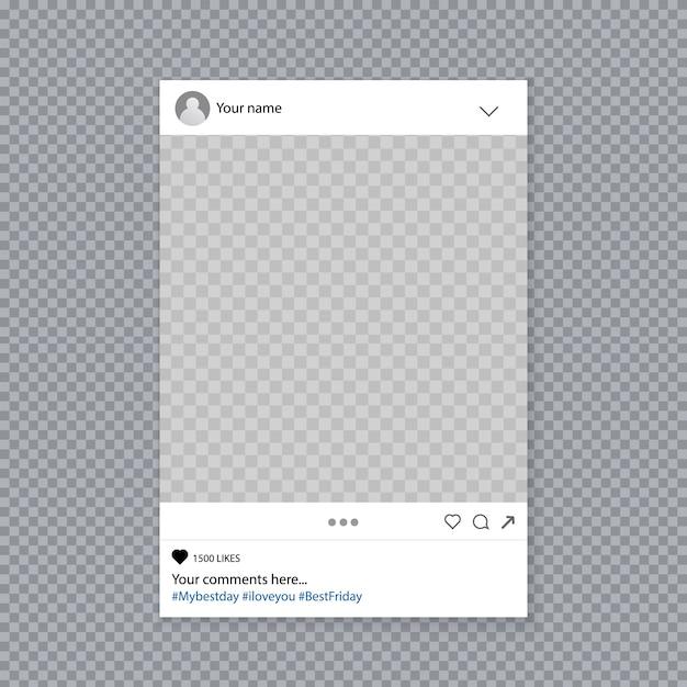 Molduras para fotos de instagram de mídia social Vetor Premium