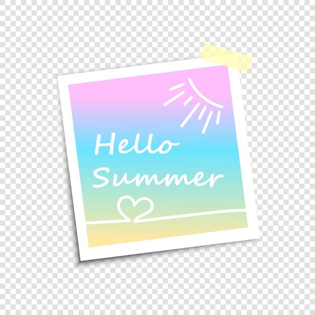 Molduras para fotos, imitação de foto polaroid. olá verão Vetor Premium