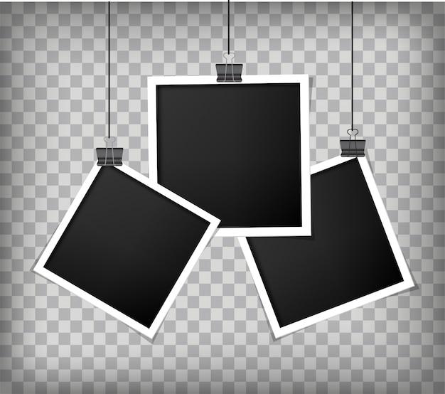 Molduras para fotos realistas retrô com papel Vetor Premium