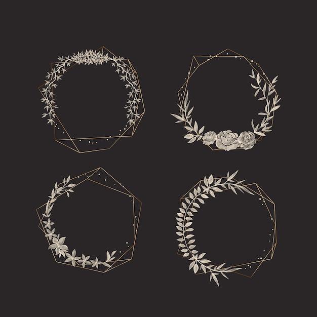 Molduras poligonais douradas com coleção de flores elegantes Vetor grátis