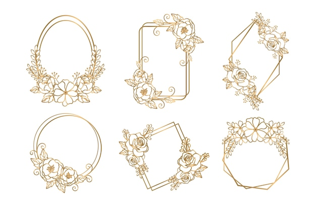 Molduras poligonais douradas com flores elegantes Vetor grátis
